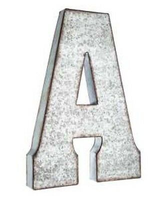 "Large 20"" Industrial Galvanized Metal Letter  WALL DECOR XXL BUSINESS LETTERS !"