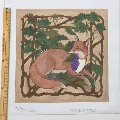 Peter Ashe Hand painted Needlepoint canvas Fox and Grapes Aesop Fable