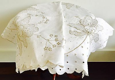 Vintage Linen Embroidered Table Cloth Exquisite Detail