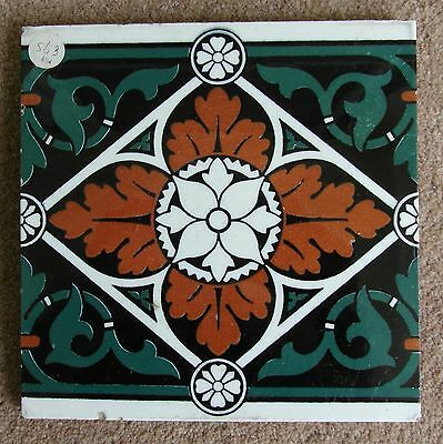 "Original  English Minton Hollins Block printed tile  8x8""Tile c1870s"