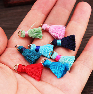10pcs Mini artificial silk Tassel Metal ring DIY decoration accessories Tassels