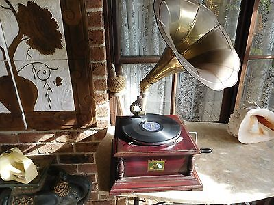 Hmv Gramophone Genuine Antique Wind Up Brass Horn Spare Needles And Record