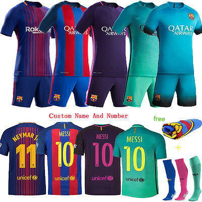 16/17/18 Football Kits Club Jersey Short Sleeve Kids Youth Sport Outfit+Socks