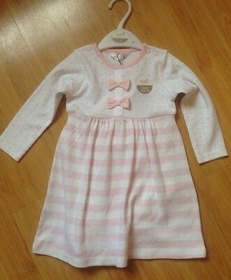 Baby Girls Pink & White Dress Baby M&Co 9-12 Months BRAND NEW