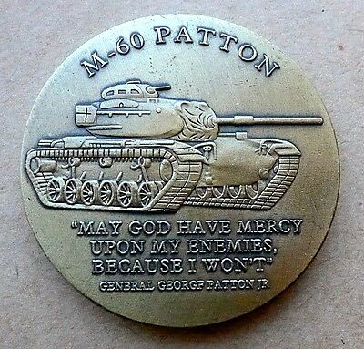 """ARMY M-60 PATTON TANK BRONZE MADE IN USA 1.75"""" CHALLENGE COIN with CAPSULE"""