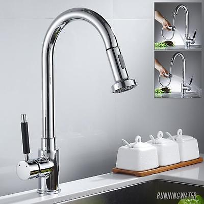 Kitchen Pull Out Sink Taps Spray Chrome Single Lever Mixer Swivel Spout Tap