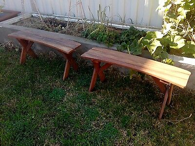 Outdoor wooden bench seats x2