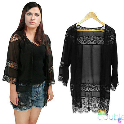 Womens Black Lace Floral Kimono Tops Cardigan Casual Loose Coat Jacket Cape UK
