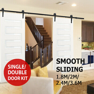 1.8M 2M 2.4M 3.6M Sliding Barn Door Hardware Track Set Kit Single Double Track