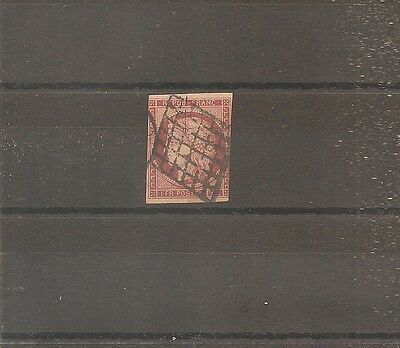 Timbre France Frankreich 1849 N°6 Oblitere Used Grille 1 Fr Carmin