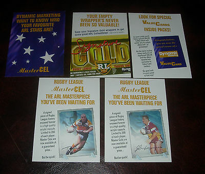 NRL 1996 SIGNATURE GOLD PAPER PROMO CARDS x 5~RUGBY LEAGUE~MASTER CEL