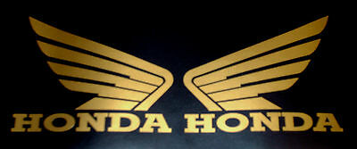2x GOLD HONDA WINGS LOGO MOTORBIKE VINYL STICKERS DECALS GRAPHICS 10cm x 8cm