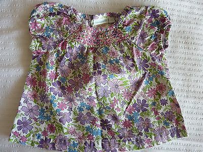 Jojo Maman Bebe Girl Floral Summer Short Sleeved Top Size 6-12 Months