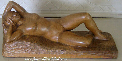 Raoul Lamourdedieu Nude Woman Sculpture Carved Wood  Signed C1920 Rare