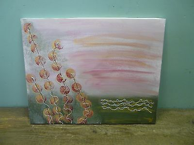 Original abstract painting on canvas, signed ; 50 x 40 cm