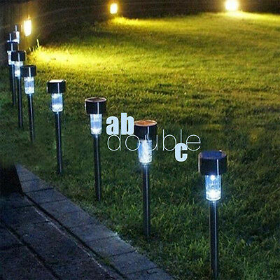 4pcs Outdoor Solar Powered Garden Lights Post Patio Led Lighting Stainless Steel