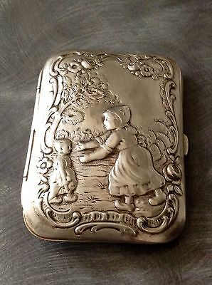 Lovely Solid Silver German Cigarette Case Circa 1890