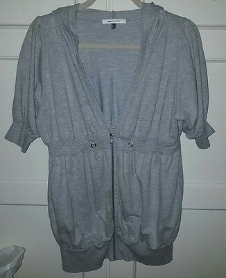 Asos Grey 3/4 Sleeved Hooded Zip Up Maternity Jacket Good Condition Sz 14
