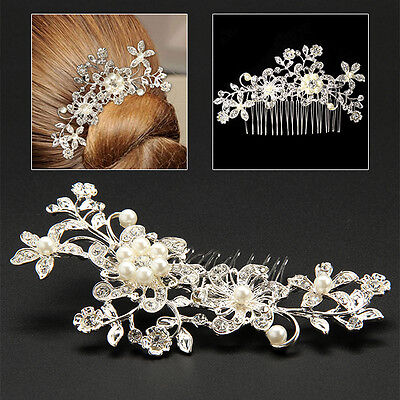 Vintage Bridal Wedding Flower Crystal Rhinestones Diamante Pearl Hair Clip Comb