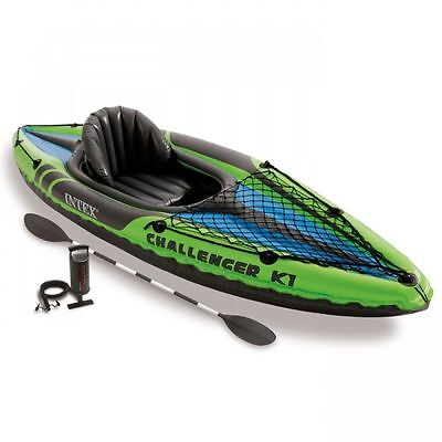 Intex K1 Challenger One Man Person Inflatable Kayak Canoe including Oars & Pump
