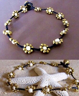 Anklet Black Cord Foot Bracelet Jewelry Gold Flower Beads Women Ankle Fashion