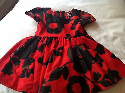 Next Girl's Red/Black Floral Print Party Dress 3-6 Months  VGC
