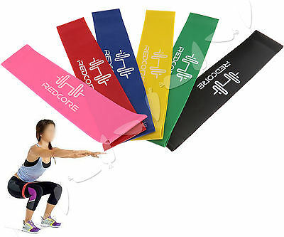 Set of 6 Resistance Band Stretch Elastic Loop Home Gym Fitness Exercise Training