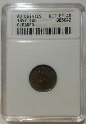 1857 10C Liberty Seated Dime ANACS AU DETAILS