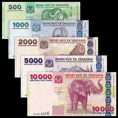 Tanzania SET 5 PCS, 500 1000 2000 5000 10000 Shillings, P-35 36 37 38 39, UNC
