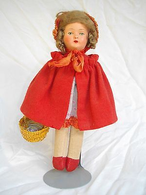 ANTIQUE LITTLE RED RIDING HOOD DOLL IN ORIGINAL CLOTHES 1920s?