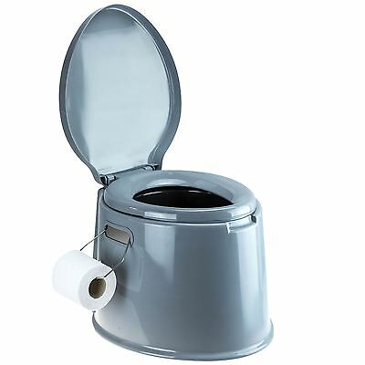 Portable 5L Camping Toilet With Loo Roll Holder Outdoor Tent Caravan Festival