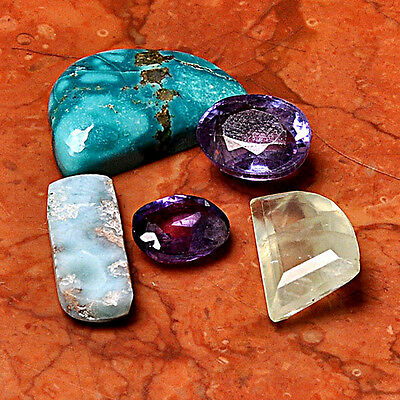 Gemstone Lot 5 Pcs Amethyst Cabochon Loose Gem Cab AUG63