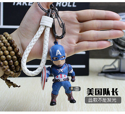 Marvel Avengers Captain America Minifigure Keychain for collectible acessories