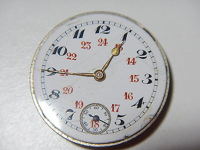 IWC PEERLESS Watch Movement Rare 24 Hour Dial Gold Hands Vintage 1920's 23.70mm