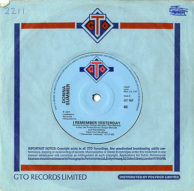 """Donna Summer I Remember Yesterday - Solid 7"""" vinyl single record UK GT107 GTO"""