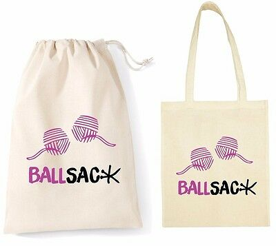 Ballsack Funny Ball Bag Knitting Sewing Wool Crochet Yarn Joke Rude Christmas