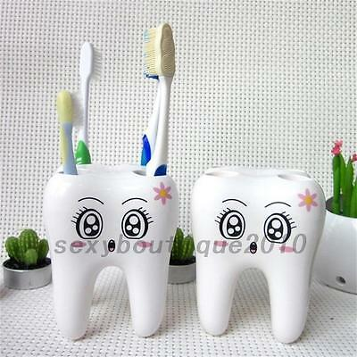 Creative Teeth Shape 4 Holes Toothbrush Cup Holder Stand Bathroom Home New
