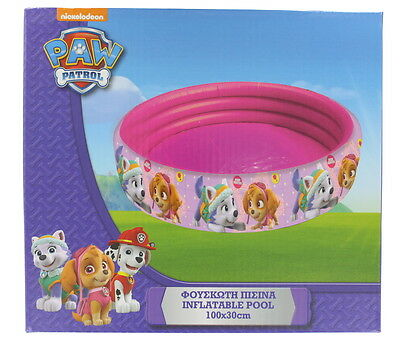 Paw Patrol Pink Children Inflatable Swimming/Paddling Pool Summer Toy 100x30cm