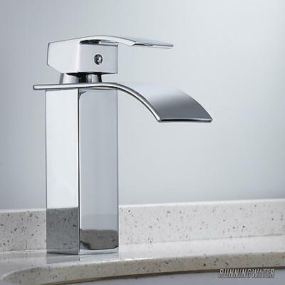 Modern Waterfall Bathroom Basin Sink Tap Square Mixer Chrome Mono Bloc Cloakroom