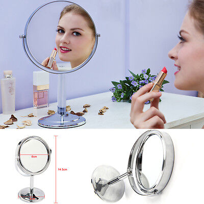 Double Sided Round Table Top Magnifying Mirror Cosmetic Makeup Shaving Swivel