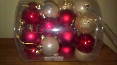 40 Champagne Gold Red Pearlised Glitter Christmas Baubles Decorations Tree 50Mm