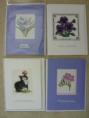 """Completed 4X Birthday Cross Stitch Cards 8""""x6"""""""