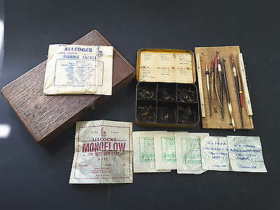 vintage fly fishing,fly,goose floats,wooden fly box and packets of tracers