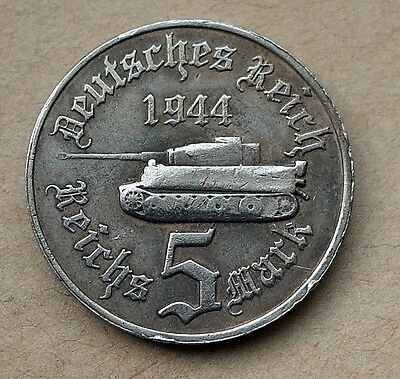 ADOLF HITLER 5 REICHSMARK 1944 TANK 24mm GERMAN COIN THIRD REICH WW2