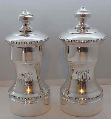 C1900 Solid Hallmarked Silver Cruet Set  Salt and Pepper Grinders Mills Tiffany