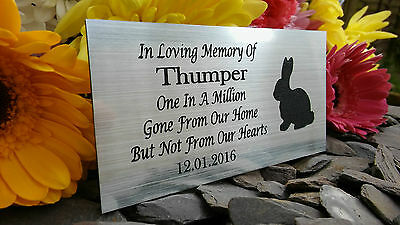 Personalised Engraved Pet Memorial Plaque Rabbit Silhouette Silver 10X5Cm (A16)