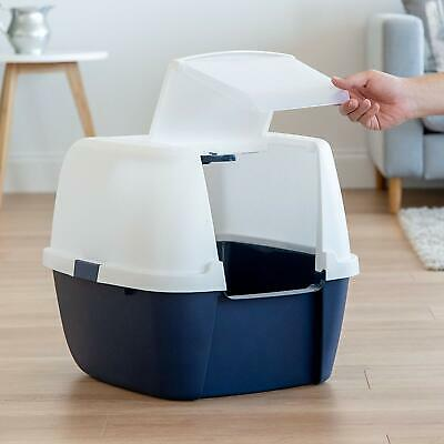 Large Cat Litter Box Pan Enclosed Hooded Covered Kitty House Scoop White