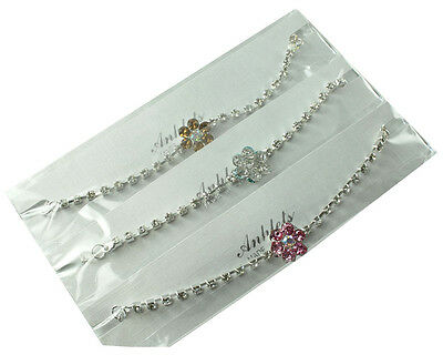 Sparkly anklets flower diamante ankle chains rhinestone bling adjustable