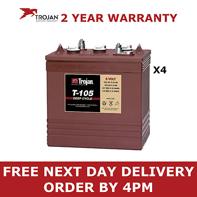 4x Trojan T105 Battery - 6V 225Ah Deep Cycle 1200 Life Cycles Leisure Boat Golf