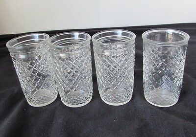 "Vintage Lot of 4 Glass Jelly Jars / Juice Glasses 3 3/4"" Tall-- Anchor Hocking"